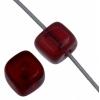 Glass Bead Cubes 5.5x5mm Garnet - Strung